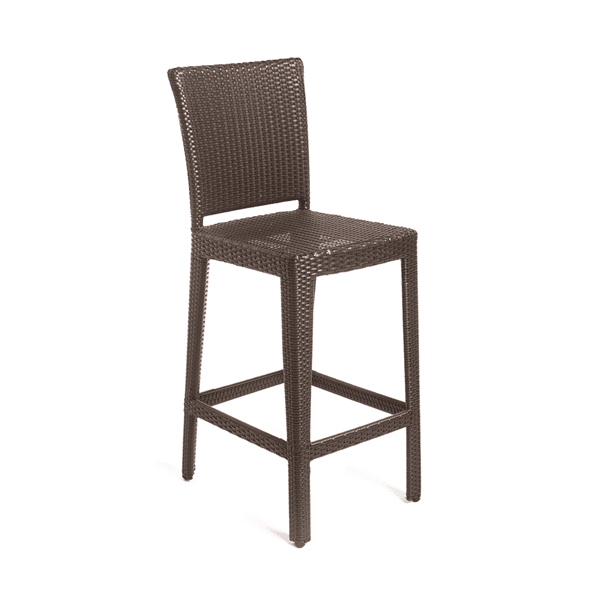 brown wicker outdoor barstool