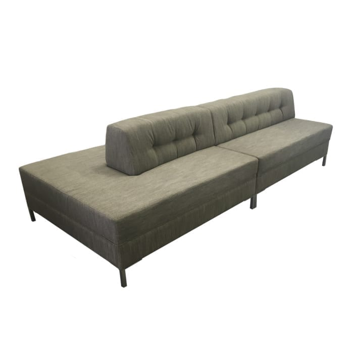 gray single line tufted sofa