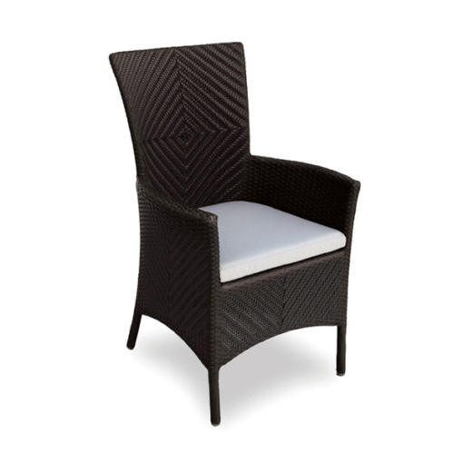 outdoor wicker dining chair with cushion