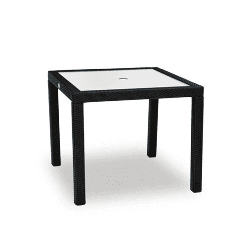 outdoor glass and wicker table