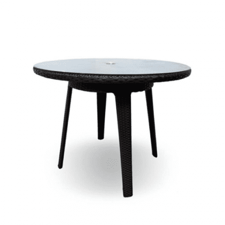outdoor round table with glass top