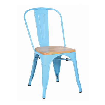 blue rustic metal restaurant chair with wood seat
