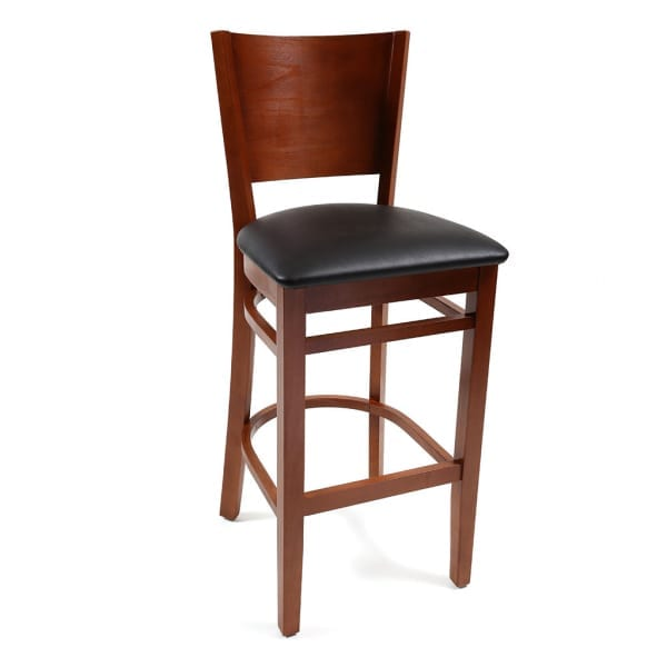 wood barstool with black vinyl seat