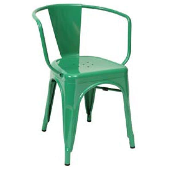 counter height green metal restaurant chair