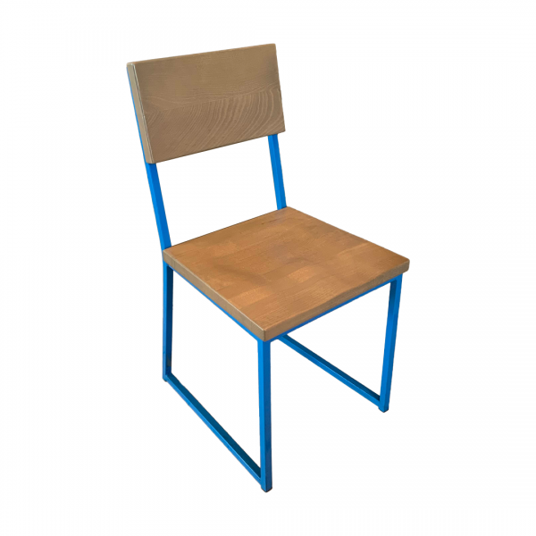 harrisburg chair with blue sled legs