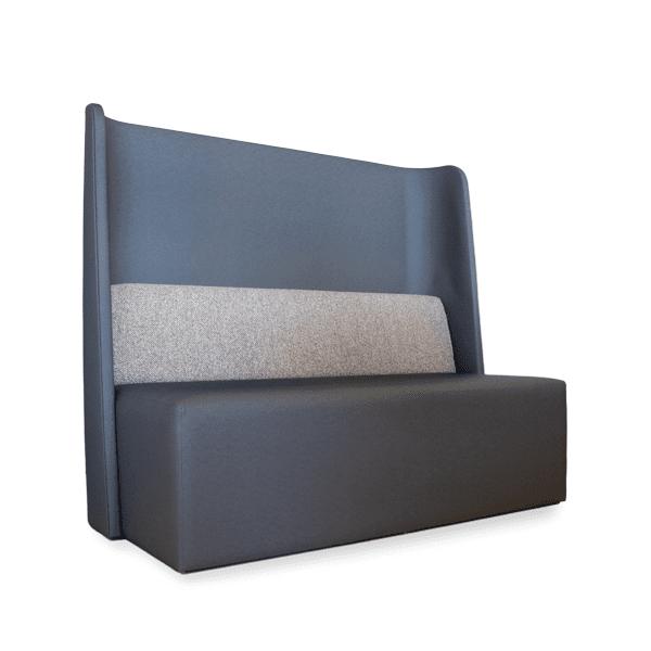 gray booth withn lumbar support pillow