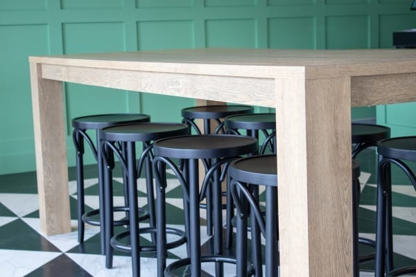 large wooden table in restaurant