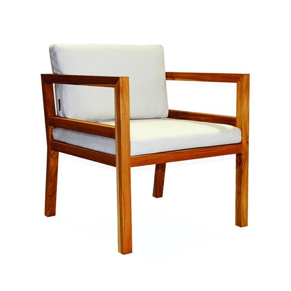 outdoor teak armchair with cushions