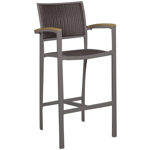 outdoor wicker barstool with armrests