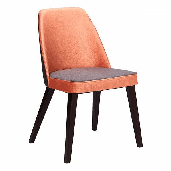 pink upholstered wood chair