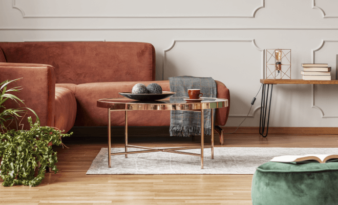 antimicrobial copper table in living room
