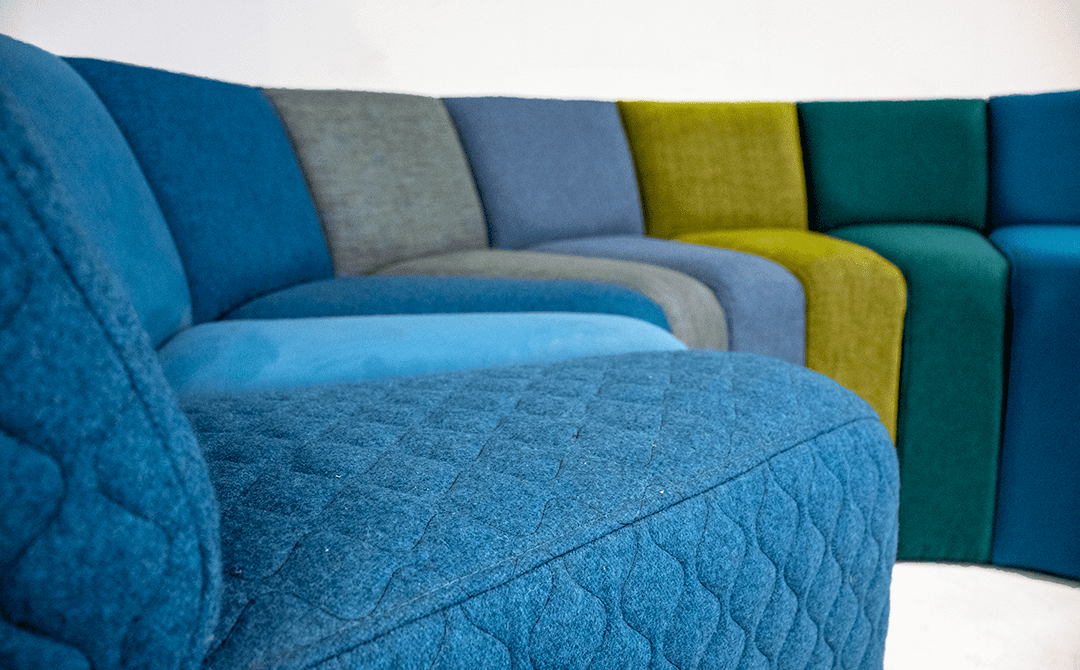 monochromatic sectional sofa in blue and green