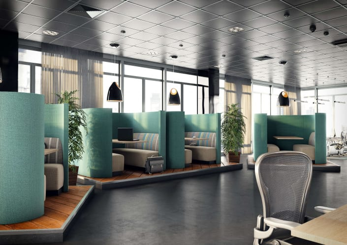 office environment with pods or cubicles