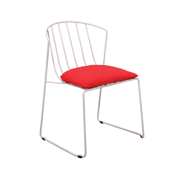 outdoor metal chair with red cushion