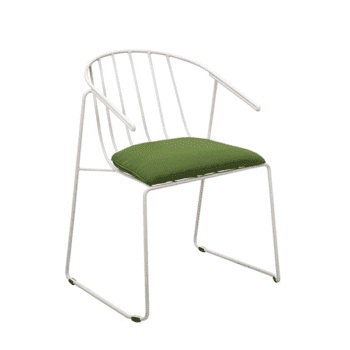outdoor metal dining chair with a cushion