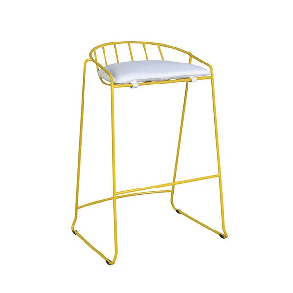 outdoor yellow barstool with a cushion