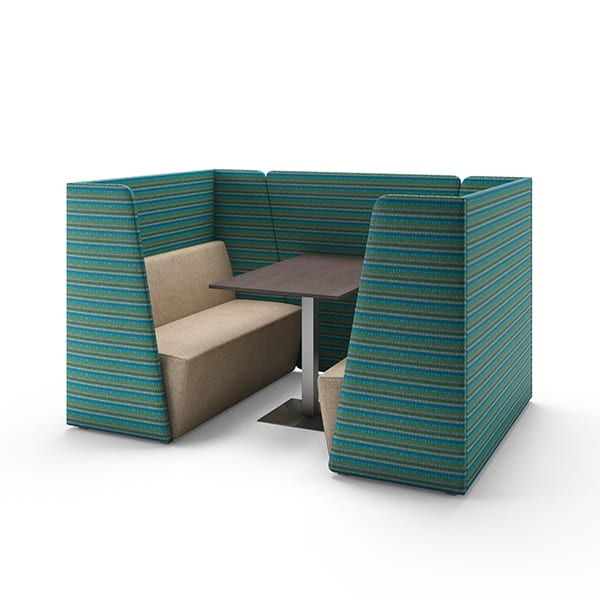 two booths with privacy panels