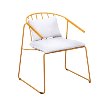 outdoor yellow metal armchair with cushions