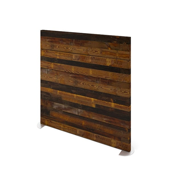 rustic wood privacy wall for workplace