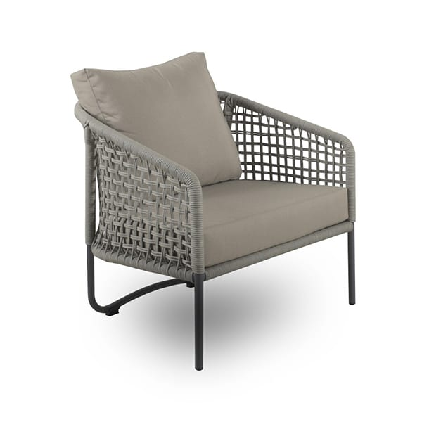 outdoor woven armchair with cushions and armrests