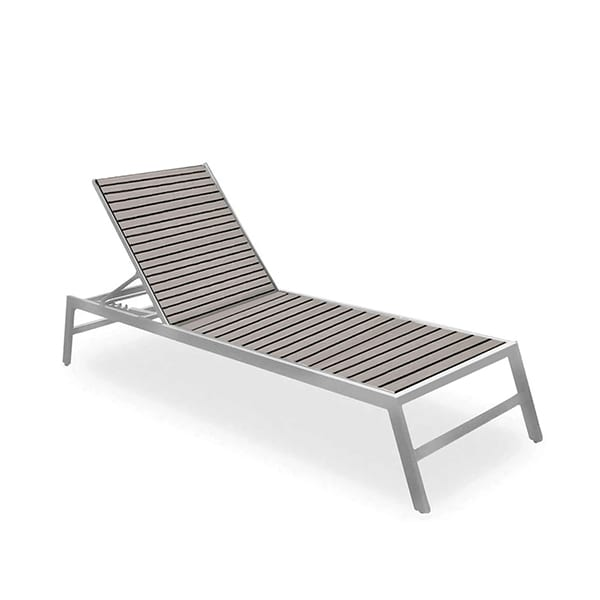 outdoor faux teak chaise lounge