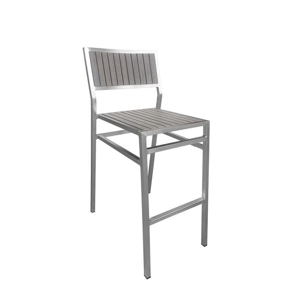 Outdoor aluminum and faux teak barstool