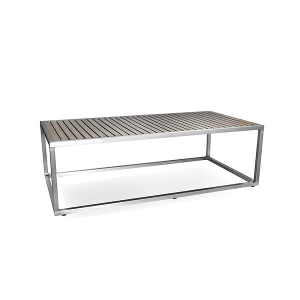 outdoor aluminum and faux teak coffee table