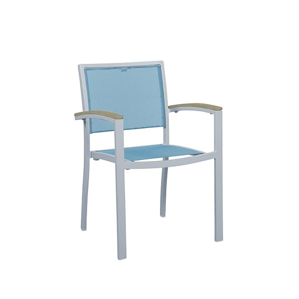 outdoor dining armchair with sling seat material