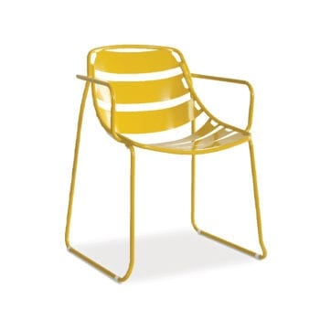 outdoor yellow metal armchair