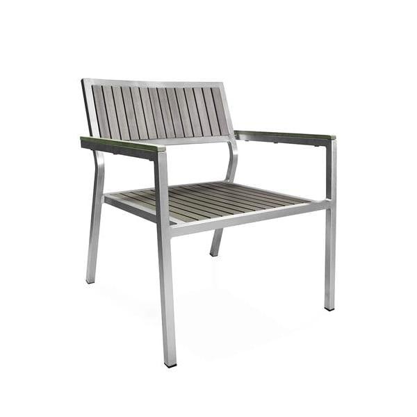 outdoor faux teak and aluminum armchair
