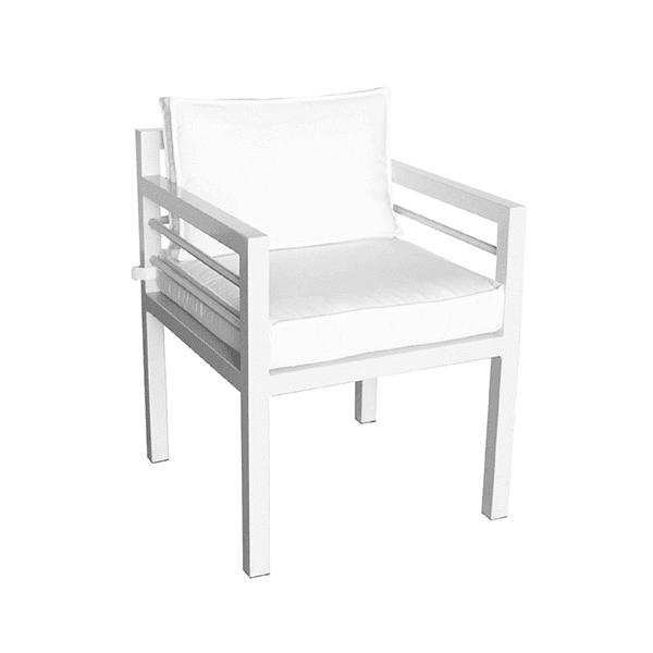 outdoor aluminum armchair with cushions