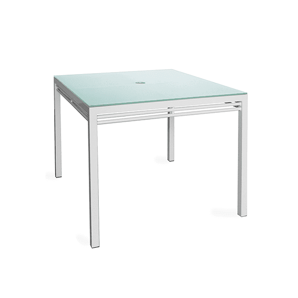 Outdoor square dining table with glass top