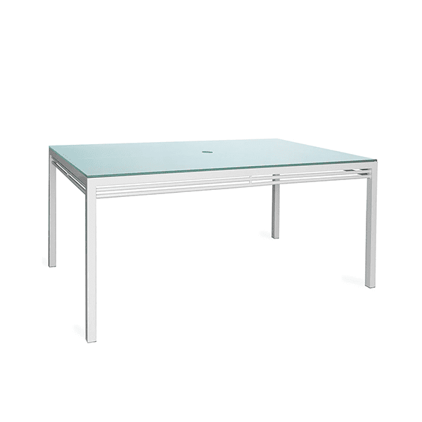 outdoor aluminum dining table with a glass top