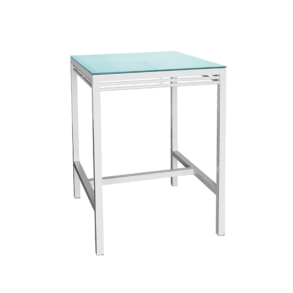 outdoor bar height table with a glass top