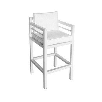outdoor barstool with armrests and cushions