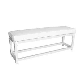outdoor aluminum bench with a cushion
