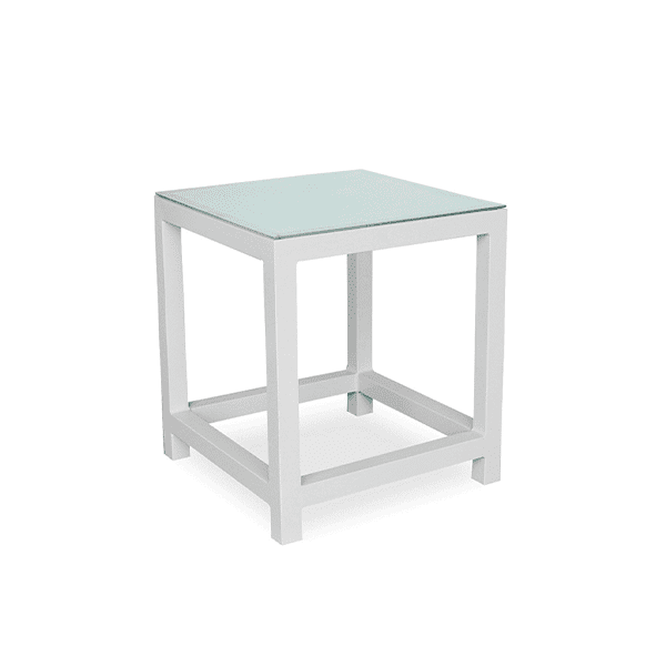 outdoor aluminum side table with a glass top