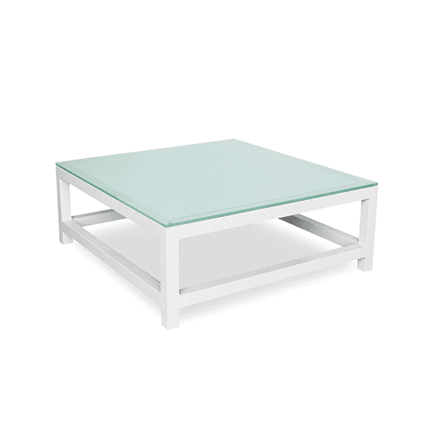 Outdoor aluminum table with a glass top