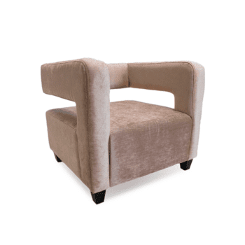 baby pink velevet lounge chair with exposed back