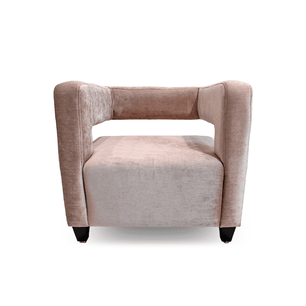 millennial pink velevet lounge chair with exposed back