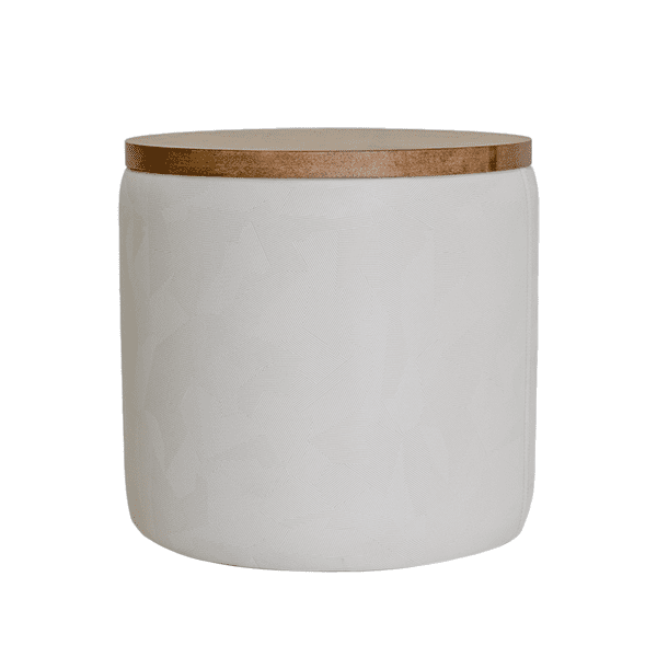 white ottoman with wood top and storage