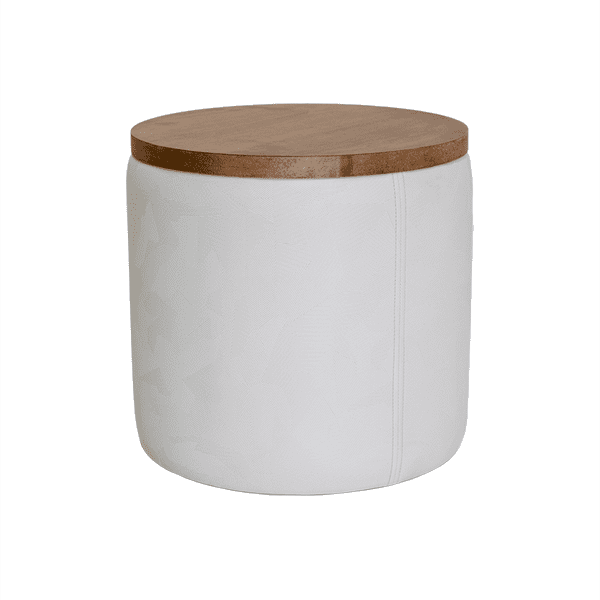 white ottoman with wood veneer top