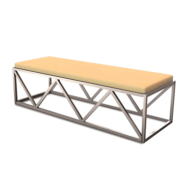 geometric metal bench with upholstered seat