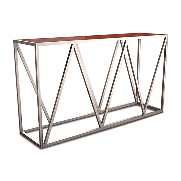 tall geometric bar height table with metal and wood