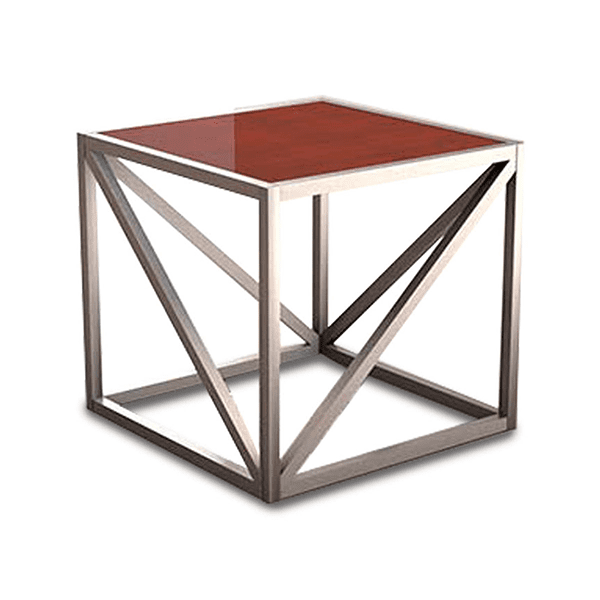 end table with geometric metal legs