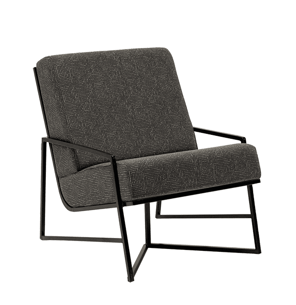 metal frame geometric dark grey lounge chair