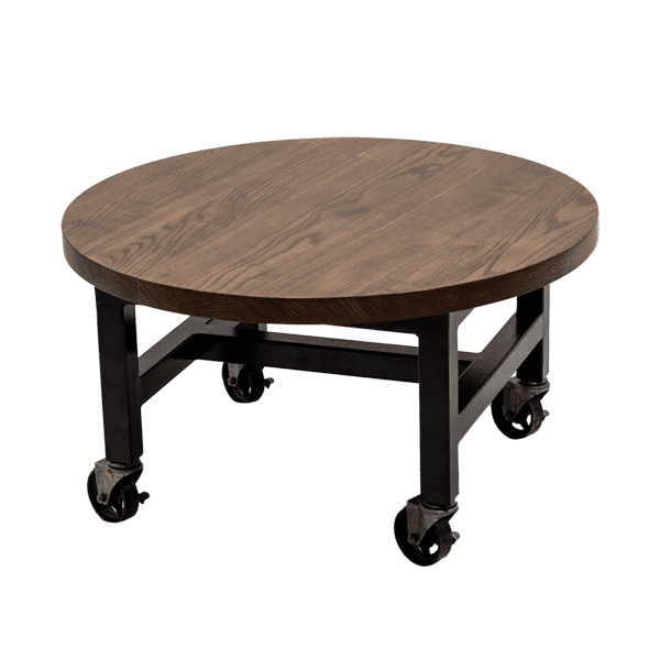 round wood side table with wheels