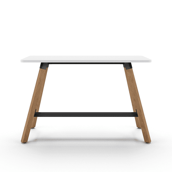 mid-century console table with wood legs