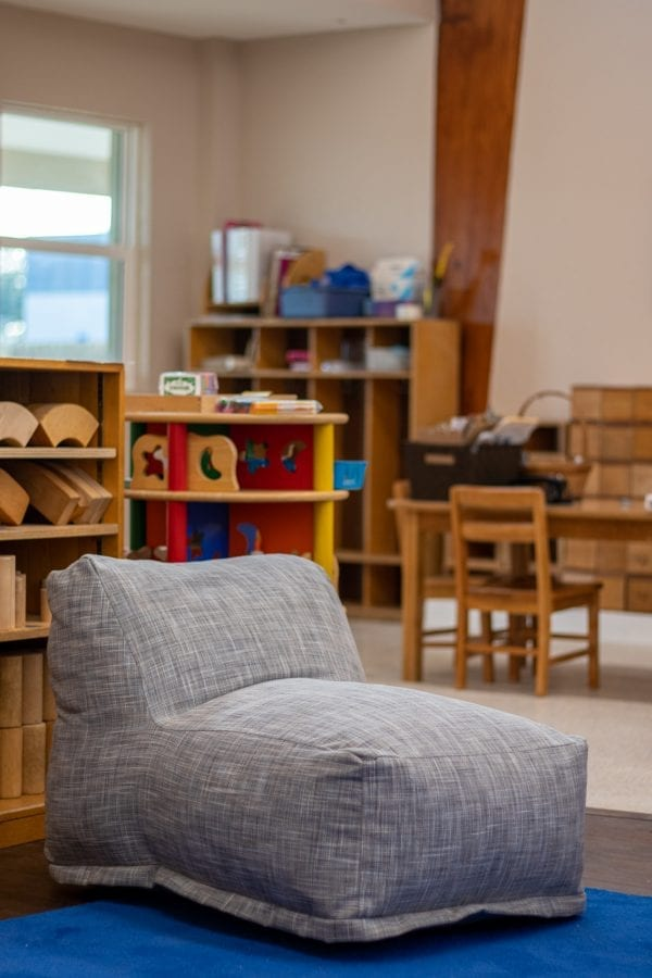 upholstered bean bag in daycare