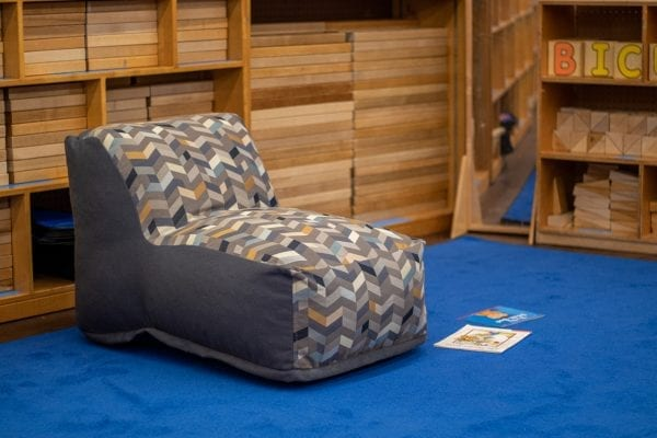 beanbag with geometric pattern in a daycare
